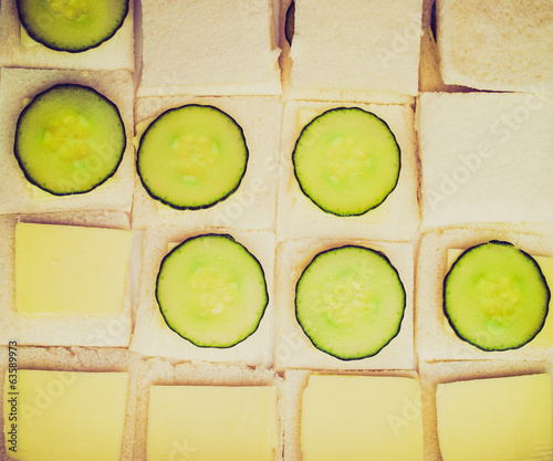 Retro look Cucumber sandwich