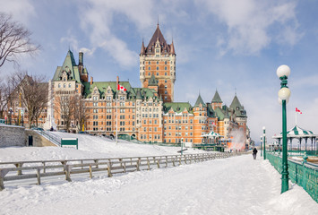 Chateau Frontenac and Dufferin Terrace in Winter