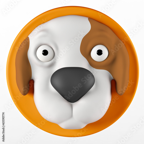 To dog face. Polymer clay miniature. Isolated on white