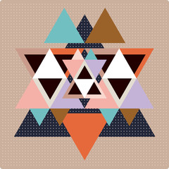 Vector pattern with colorful geometric shapes, triangles,lines