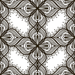 Black lace seamless pattern on white dackground