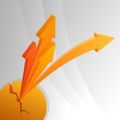 Orange arrows from crack sphere.