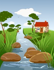 Summer landscape with a stream and a small house