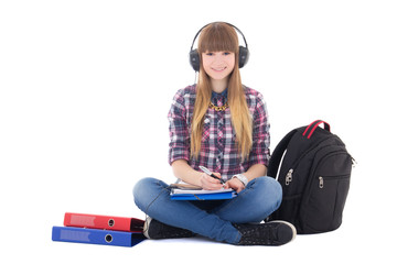 female student studying and listening music