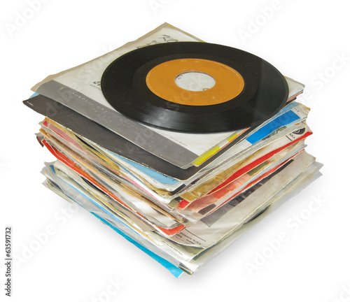 Close up of Old Vinyl Records