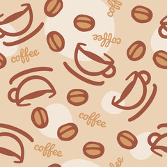 Seamless coffee cup & beans background - brown & beige.