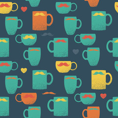 Seamless mustache & mugs pattern. Colorful cups on green back.