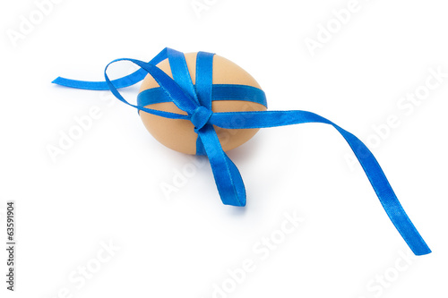 egg with blue ribbon and bow
