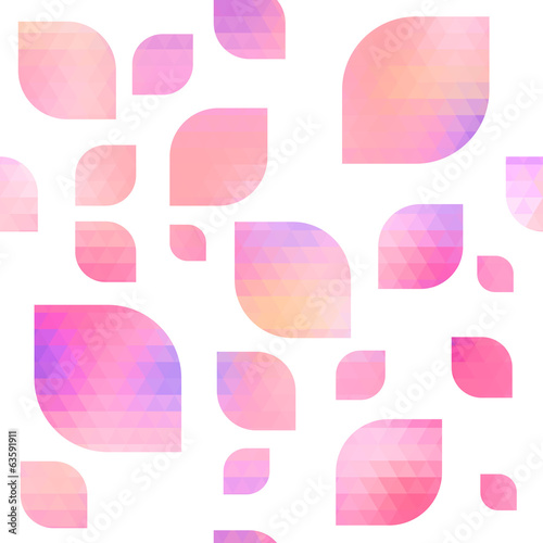 Seamless abstract background - pink mosaic petals.