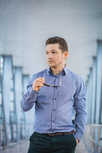 businessman on the blue modern background