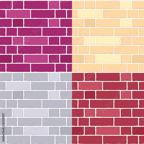 Set of brick wall seamless vector patterns.