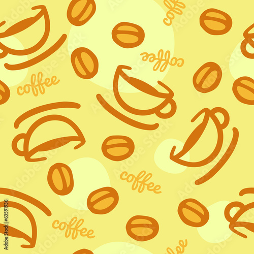 Seamless coffee cup & beans background - orange & yellow.