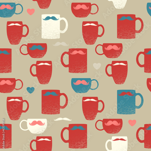 Seamless mustache & mugs pattern. Colorful cups on brown back. - 63591956