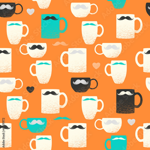 eamless mustache & mugs pattern. Colorful cups on orange back.