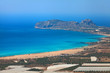 Вид на морской залив с огромным пляжем. Греция. Крит
