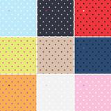 Set of polka dots seamless patterns. Dots & hearts.