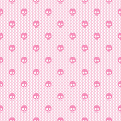 Seamless pink lace pattern with skulls on white background.