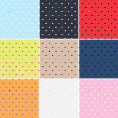 Set of polka dots seamless patterns. Dots & hearts.