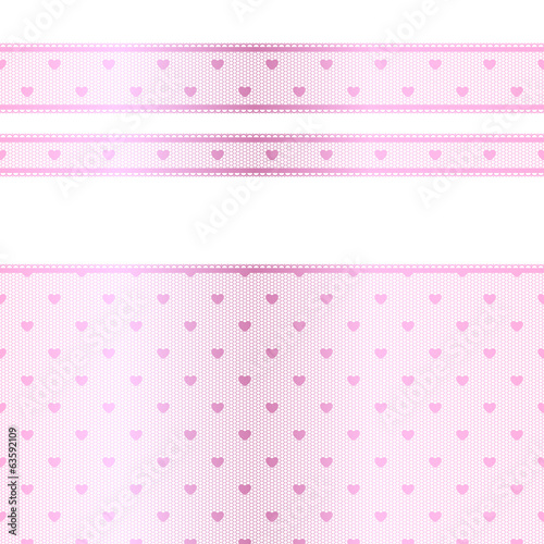 Horizontal pink lace texture with hearts - different width.