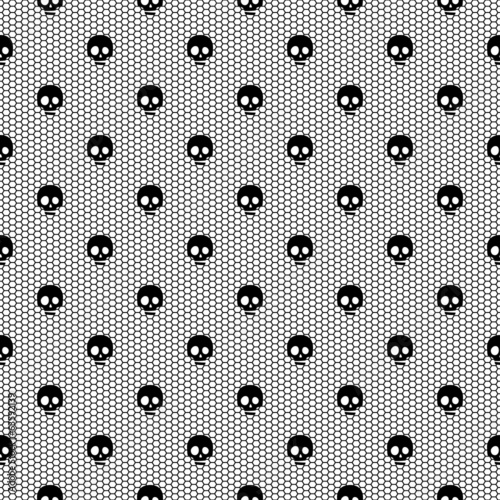 Seamless black lace pattern with skulls on white background.
