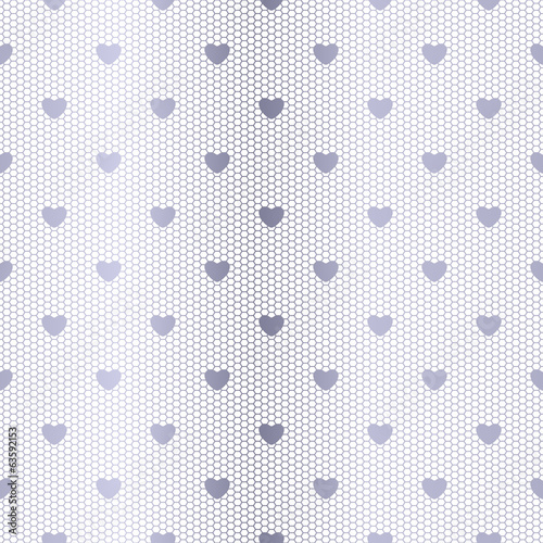 Seamless silver lace pattern with hearts.