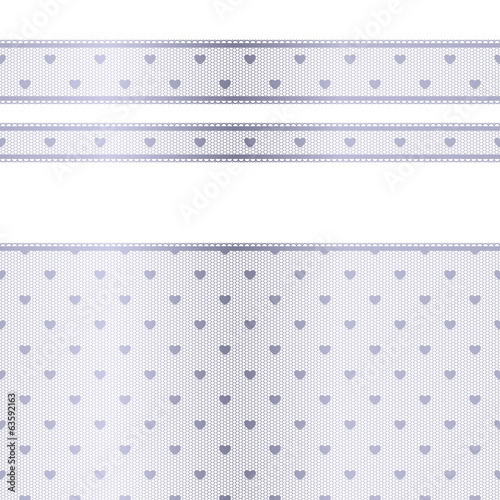 Horizontal silver lace texture with hearts - different width.