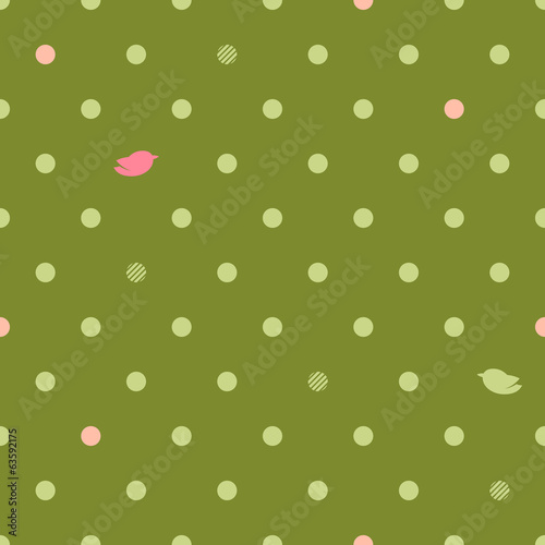 Polka dots with hearts seamless pattern - pink and green.