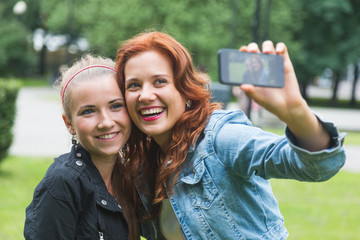 Girls Taking Selfie with Mobile Phone