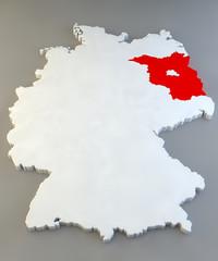 Mappa Germania, regione tedesca, Brandenburg