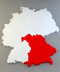 Mappa Germania, regione tedesca, Bayern