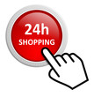Roter Button mit Cursor 24 h Shopping