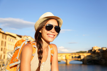 Backpacking women traveler in Florence