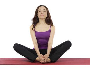 Woman doing Cobblers Pose in Yoga