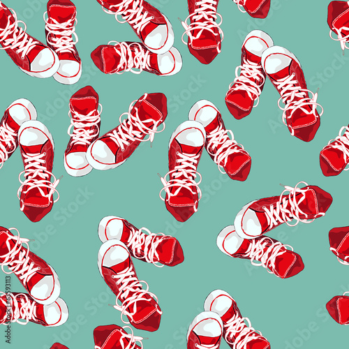Red sneakers on green background. Vector illustration