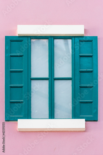 green wooden window
