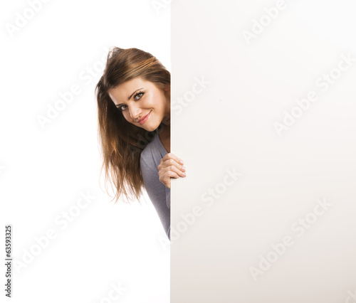 Woman with advertising banner