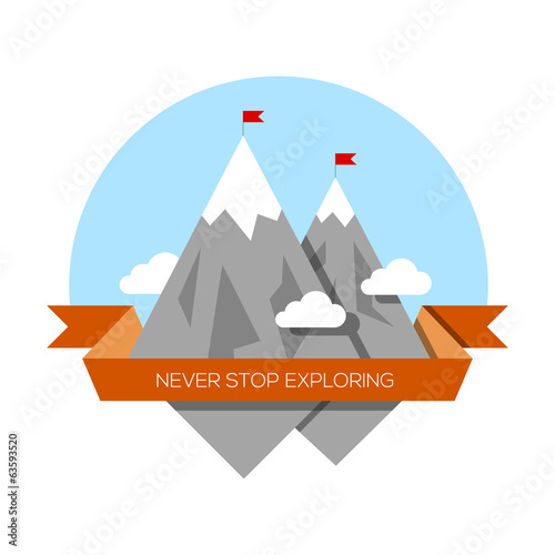 Mountain low-poly style illustration