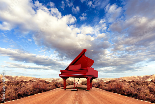 Music concept.Scenery and piano on the road - 63593713