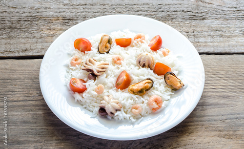 Basmati rice with seafood