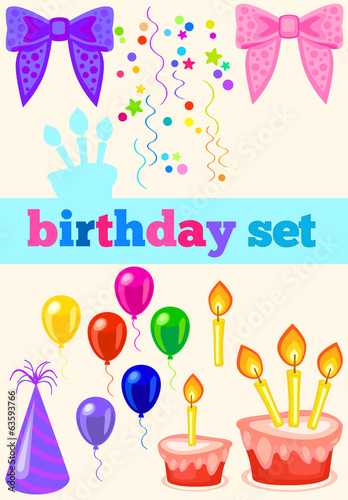 birthday set with ribbons. birthday cap, cake, balloons and conf