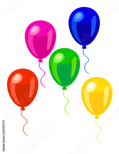 pink, green, red, blue and yellow balloons. EPS10, no gradient,