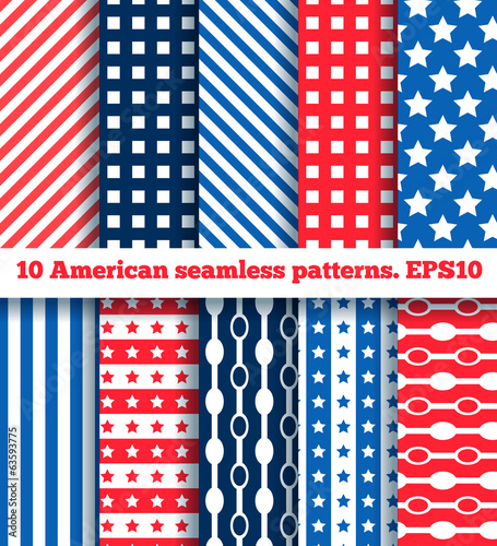 set of ten american seamless pattern