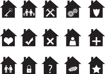House icon set illustrated on white