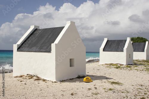 canvas print picture Sklavenhütten, Bonaire, ABC Inseln