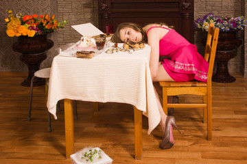 Crime scene simulation. Poisoned girl lying on the table