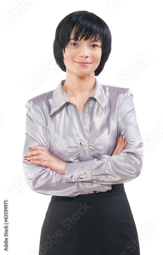portrait of smiling asian businesswoman with crossed arms isolat