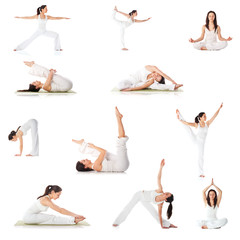 Set of yoga poses isolated on white background