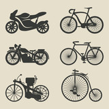 Fototapety motorcycle and bicycle icons