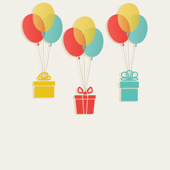 gifts with colored balloons