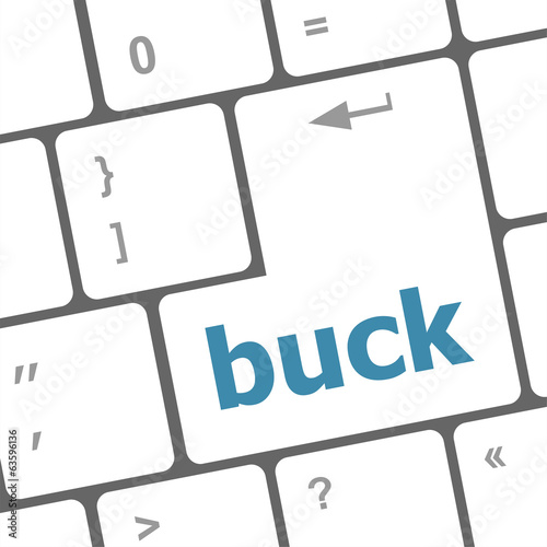 button with buck word on computer keyboard keys